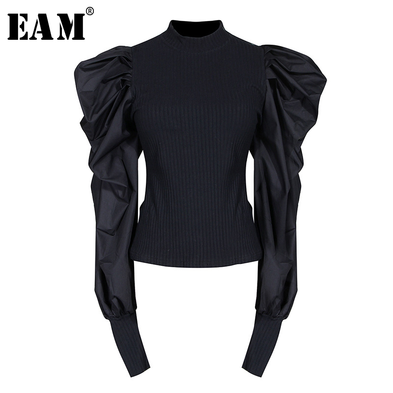 [EAM] Black Pleated Knitting Sweater Loose Fit Stand Collar Long Sleeve Women Sweater New Fashion Tide Spring Autumn 2020 1H701