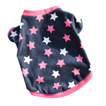 Summer Dog Clothes Pets Dogs Pup Cats Pullover T-Shirt Cute Heart Stars Costumes Pup Cats Jacket tanie i dobre opinie Coral fleece Polar fleece Mały pies