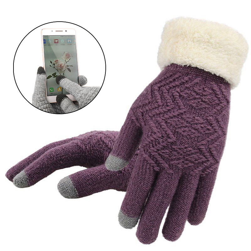 Full Finger Elegant 1pair Fashion Gloves Warm Touch Screen Fleece   Gloves Kint Autumn Winter Women Gloves
