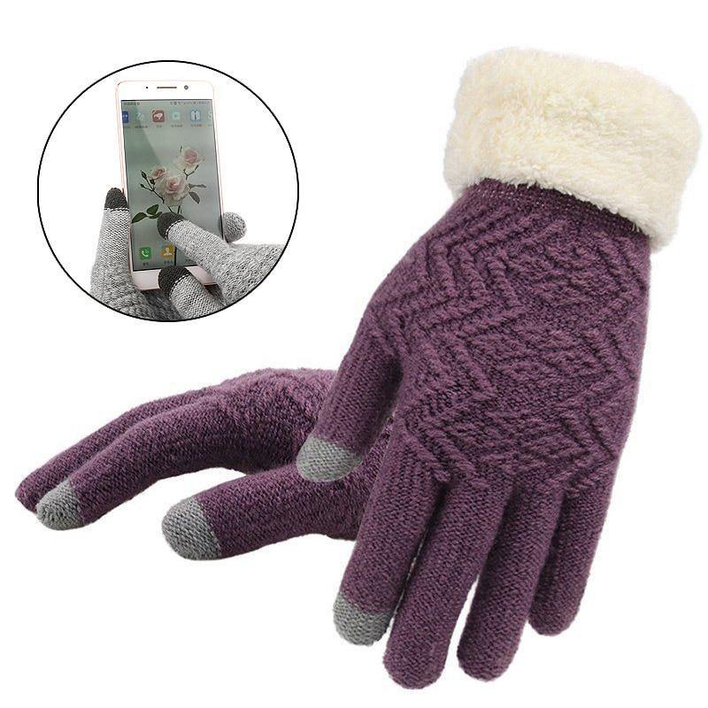Full Finger Elegant 1pair Fashion Gloves Warm Touch Screen Fleece Gloves Kint Autumn Winter Women Gloves
