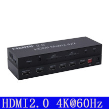2.0 HDMI Matrix 4x2 4K @ 60Hz HDR Switch Splitter 4 in 2 out YUV 4:4:4 Optical SPDIF + 3.5mm jack Audio Extractor HDMI Switcher(China)