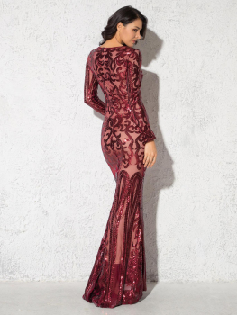 Elegant Vestido Full Sleeved Maxi Dress