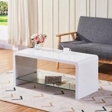 GOLDFAN High Gloss Coffee Tables with Glass Storage Shelf Modern Design Living Room Coffee Tables for Home Office Furniture