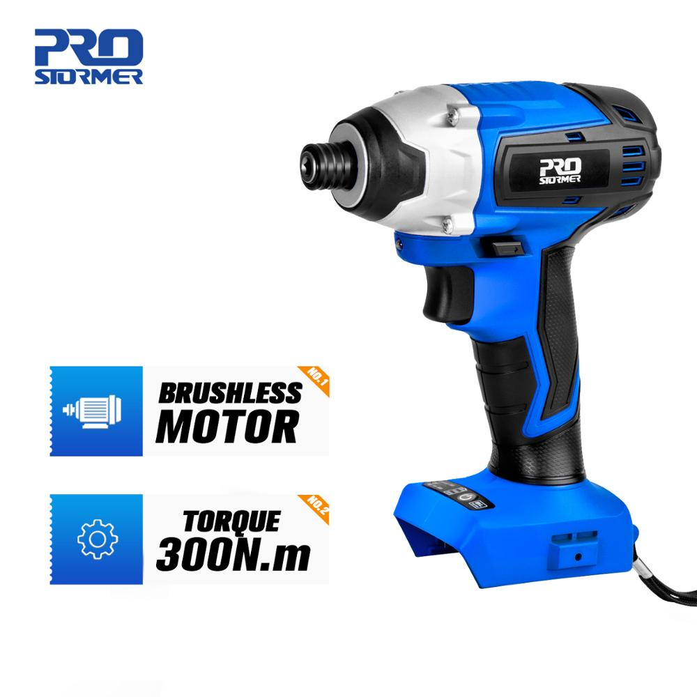 300Nm Electric Screwdriver Brushless Motor Impact Function 20V Power Tool Body Only By PROSTORMER