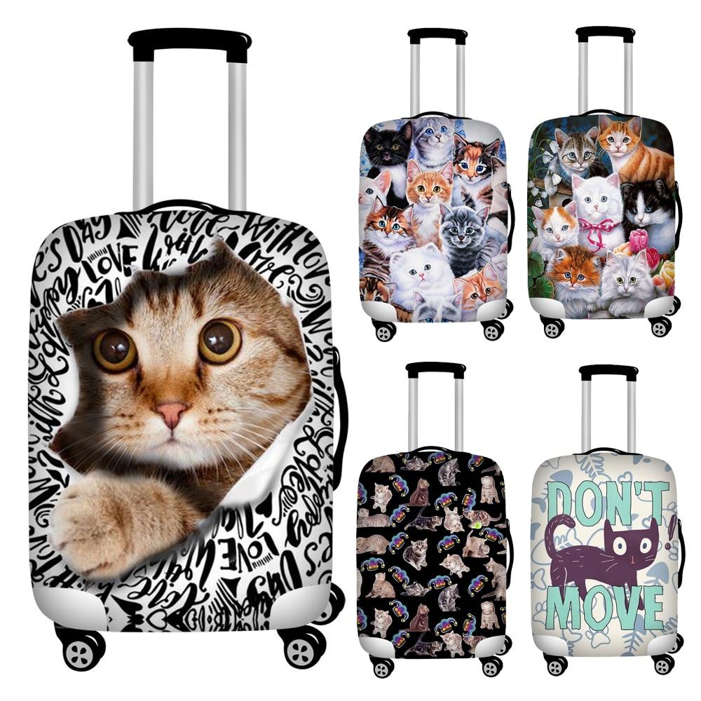 FORUDESIGNS Cute 3d Kitten Print Trolley Luggage Covers Elastic 18''-32'' Travel Suitcase Cover Elastic Waterproof Baggage Cover