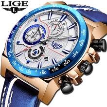 レロジオ Masculino 2019 LIGE ブルー腕時計メンズ腕時計トップブランドの高級革スポーツクォーツ時計男性防水クロノグラフ