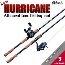 Obei caña de pescar de carbono hurricane spinning casting, portátil, de viaje, 1,8 m, 2,1 m, 2,4 m, 2,7 m, caña de pescar ultraligera