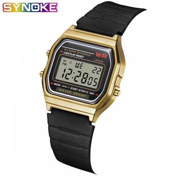 SYNOKE Men Women Digital Watch Retro LED Metal Shock Sports Fashion Wristwatches Relogio Masculino Digital Gold Black Watch Saat цена 2017