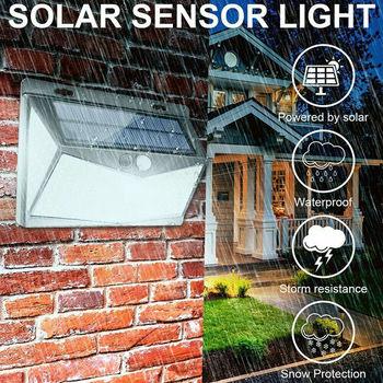 Luz de pared de Sensor con detección de movimiento PIR Solar 100/208 IP67 LED, lámpara de jardín exterior, decoración de jardín impermeable