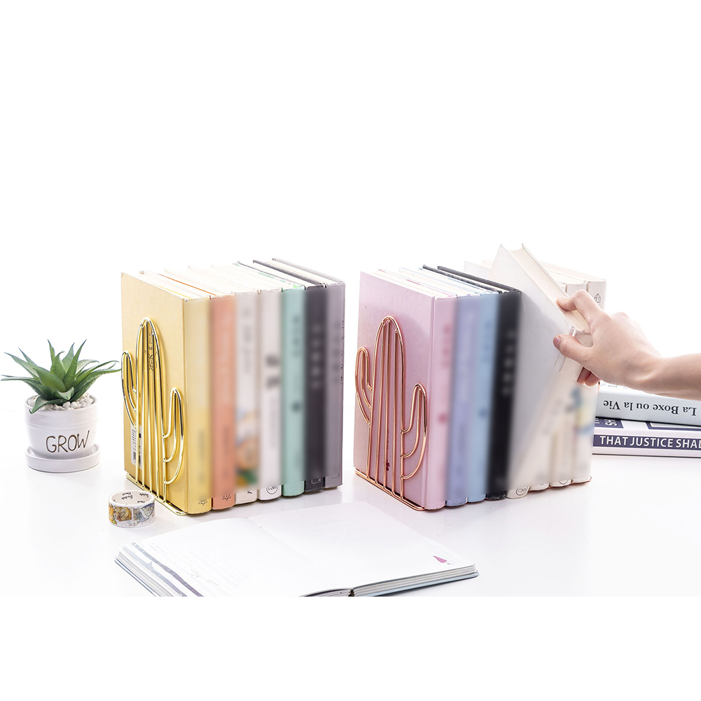 2pcs Desk Organizer Book Shelf Nordic Style Cactus Shaped Support Decorative Holder Storage Study Bookends Stand Office Non-skid