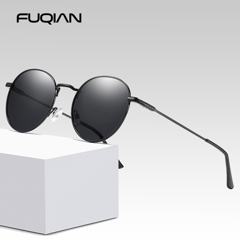 FUQIAN Luxury Round Sunglasses Polarized Men 2020 Fashion Black Sun Glasses Women Anti-glare Driving Glasses For Male UV400