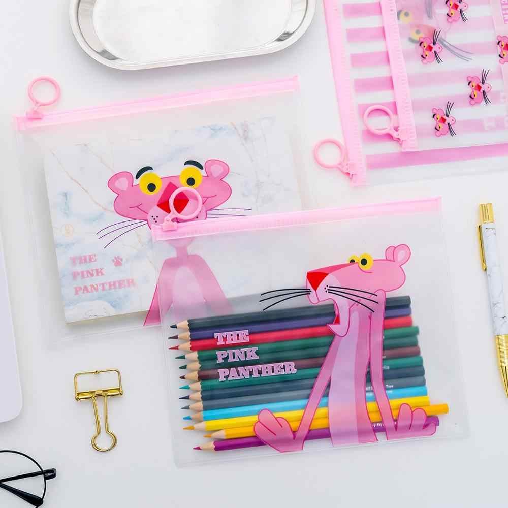 Estuches de lápiz Pantera Rosa Kawaii soporte de archivo bolsas de lápices transparentes lindos caja de lápices para niños niñas papelería suministros escolares