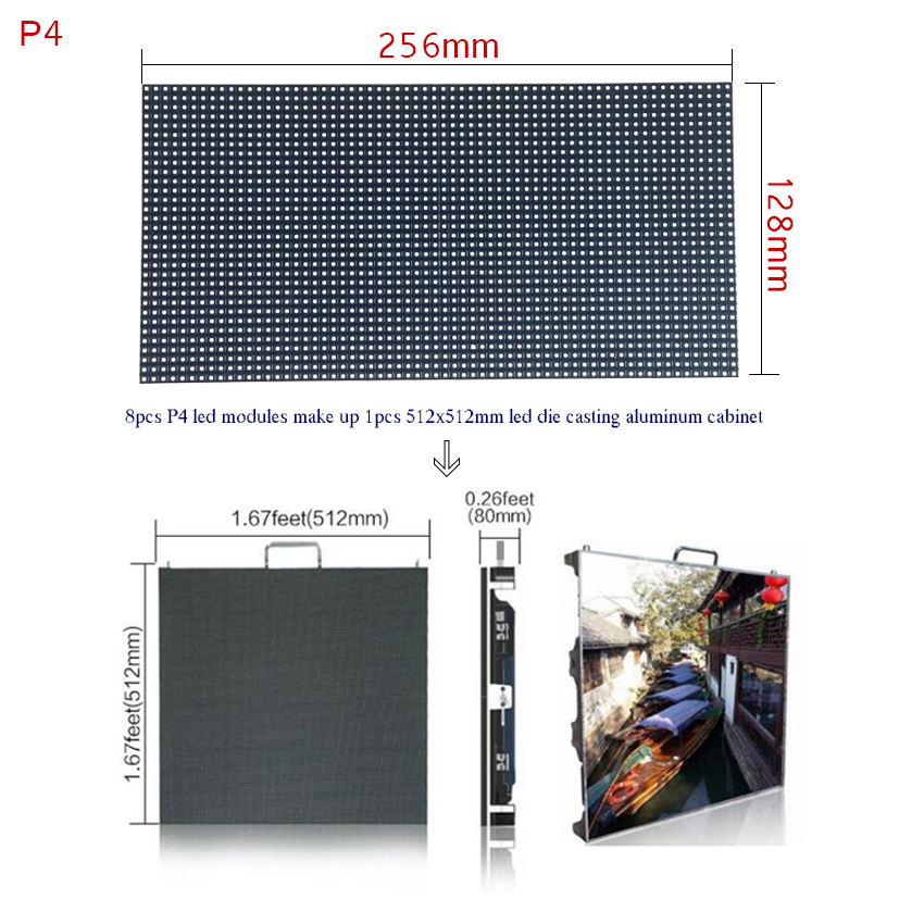 High Brightness HD Led Display P4 SMD Seamless Splice Led Module 64x32dots 256*128mm For Outdoor Full Color Advertising