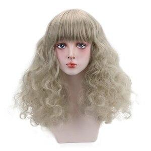 Pelucas de pelo largo sintético rizado de 20 pulgadas con flequillo contundente para cosplay de Lolita para Halloween