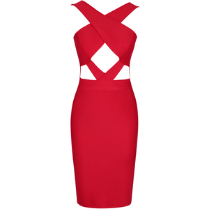 Image 3 - Ocstrade New in Runway Summer 2020 Fashion Cut Out Hot Sexy Bandage Dress Club Party Red Bandage Dress Rayon Women Bodycon Dress