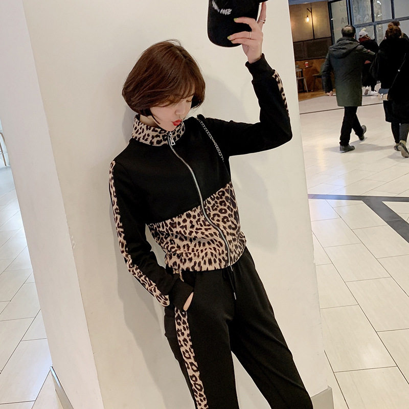 Customizable Two-Piece Women's 2019 New Style Leopord Pattern Long Sleeve Knitted Sweater Coat Skinny Pants Set F5723