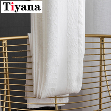 High Grade Thick Modern White Curtains For Living Room Bedroom Pleated Grey Tulle Curtains Window Drapes Kitchen Voile JK039Y