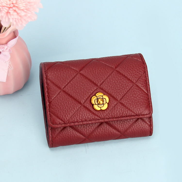 2019 Autumn And Winter New Style Genuine Leather Card Bag Fashion Korean-style Full-grain Leather Card Clamp Rhombus Organ Walle