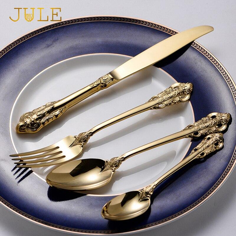 Vintage Western Gold Überzogene Besteck 24 stücke Essen Messer Gabeln Teelöffel Set Goldene Luxus Geschirr Gravur Geschirr Set-in Geschirr-Sets aus Heim und Garten bei  Gruppe 3