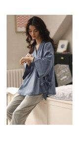 Image 5 - Retro Japan Stijl Katoen Pyjama Sets Voor Meisjes Vrouwen Lente Zomer Homewear Kleding Casual Kimono Housewear