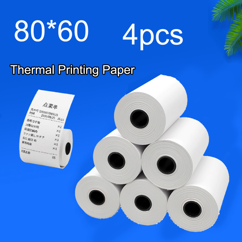 80x60mm 4PCS Thermal paper Receipt printer paper POS printer 80mm paper for Mobile POS mobile printer paper