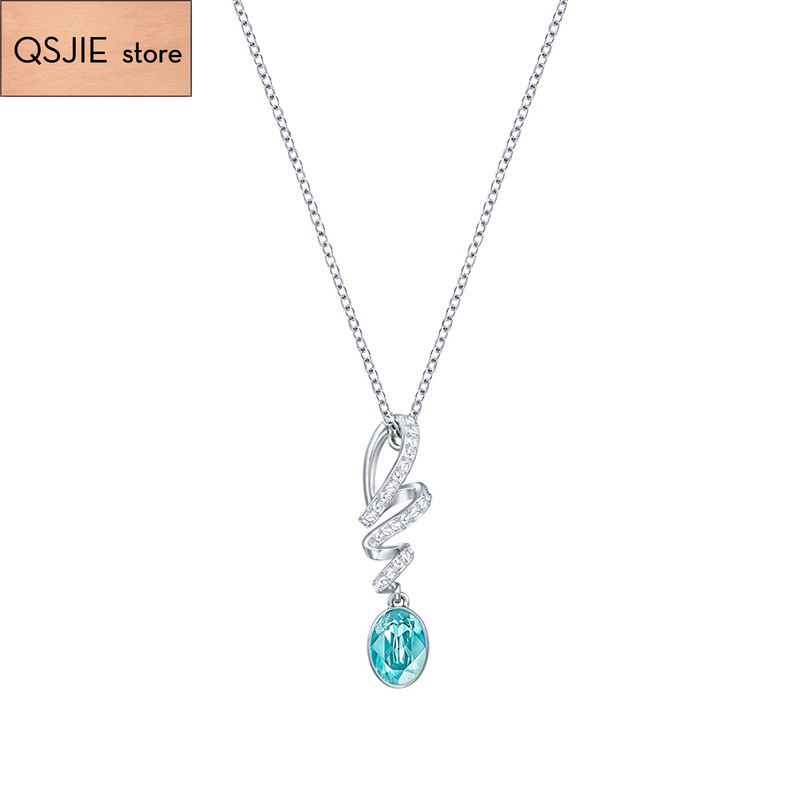 High Quality SWA 1:1 Fashion Lori Blue Crystal, Ladys Pendant Chain and Necklace