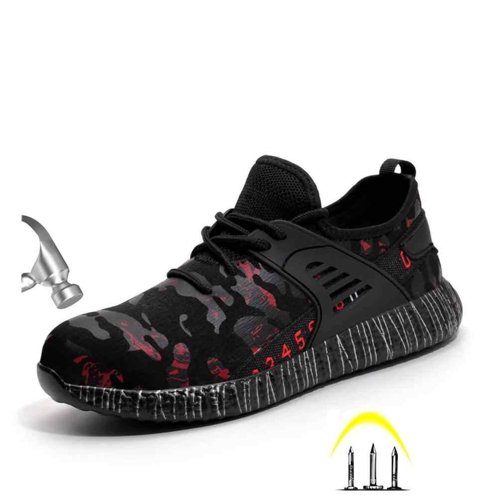 Yeni erkek moda çelik burun Anti Smashing koruyucu güvenlik ayakkabıları erkekler delinme geçirmez iş ayakkabısı botları kaymaz