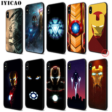 IYICAO Iron Man Marvel Ironman Soft Black Silicone Case for iPhone 11 Pro Xr Xs Max X or 10 8 7 6 6S Plus 5 5S SE iyicao marvel comics the black panther soft black silicone case for iphone 11 pro xr xs max x or 10 8 7 6 6s plus 5 5s se