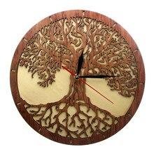 Yggdrasil – horloge murale en bois, arbre de vie, géométrie sacrée, arbre magique, décoration de maison, balayage silencieux, horloge murale de cuisine, cadeau de pendaison de crémaillère