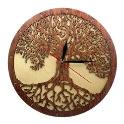 Yggdrasil hayat ağacı ahşap duvar saati kutsal geometri sihirli ağacı ev dekor sessiz süpürme mutfak duvar saati eve taşınma hediye