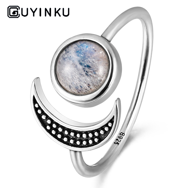 GUYINKU Romantic Moon Sun Shape Rings 925 Sterling Silver Natural Moonstone Rings For Women Wedding Gift Fine Jewelry Adjustable