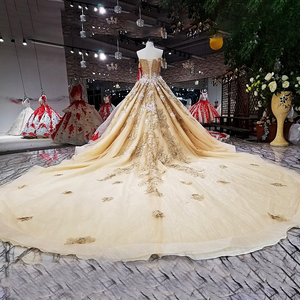 Image 4 - Robe de soirée dorée en organza, robe de fête, épaules dénudées, dos, couleur, modèle LS63454 1, chine, vente en ligne, à lacets