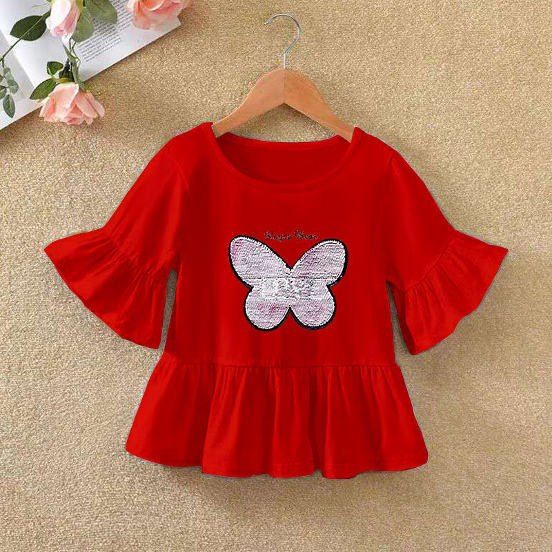 VIDMID 2021 Girls' Long Sleeve T-shirt O-neck Ruffle Cartoon Pattern Baby Girl Top T-shirt Autumn Children's Clothing P72 3