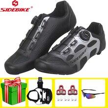 цена SIDEBIKE road cycling shoes men racing carbon fiber bike ultralight self-locking bicycle sneakers breathable professional shoes онлайн в 2017 году