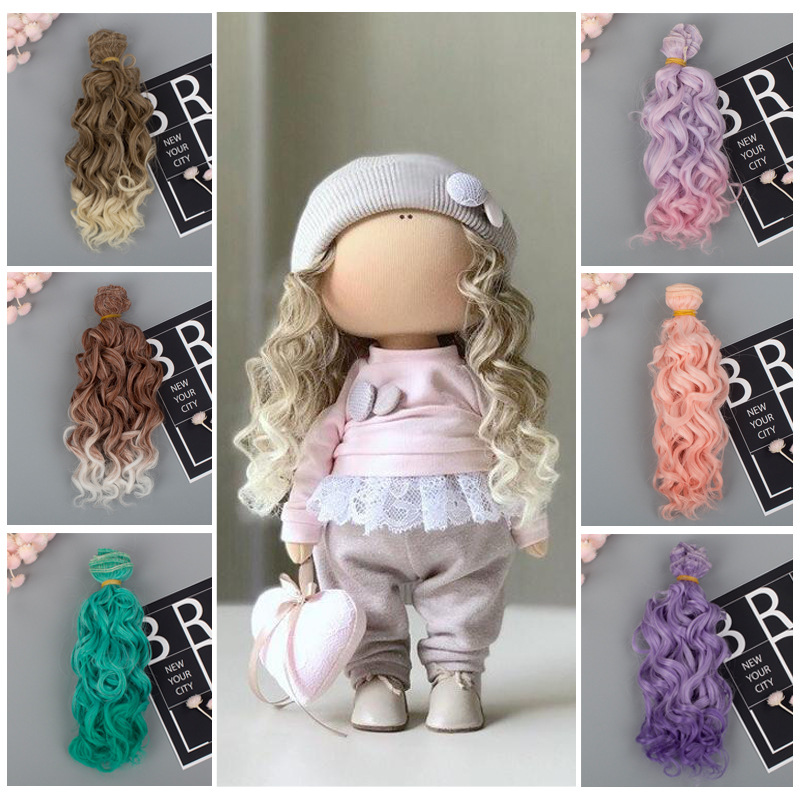 Muziwig15*100cm tresses Screw Curly Hair Extensions for All Dolls DIY Hair Wigs Heat Resistant Fiber Hair Wefts Accessories toys