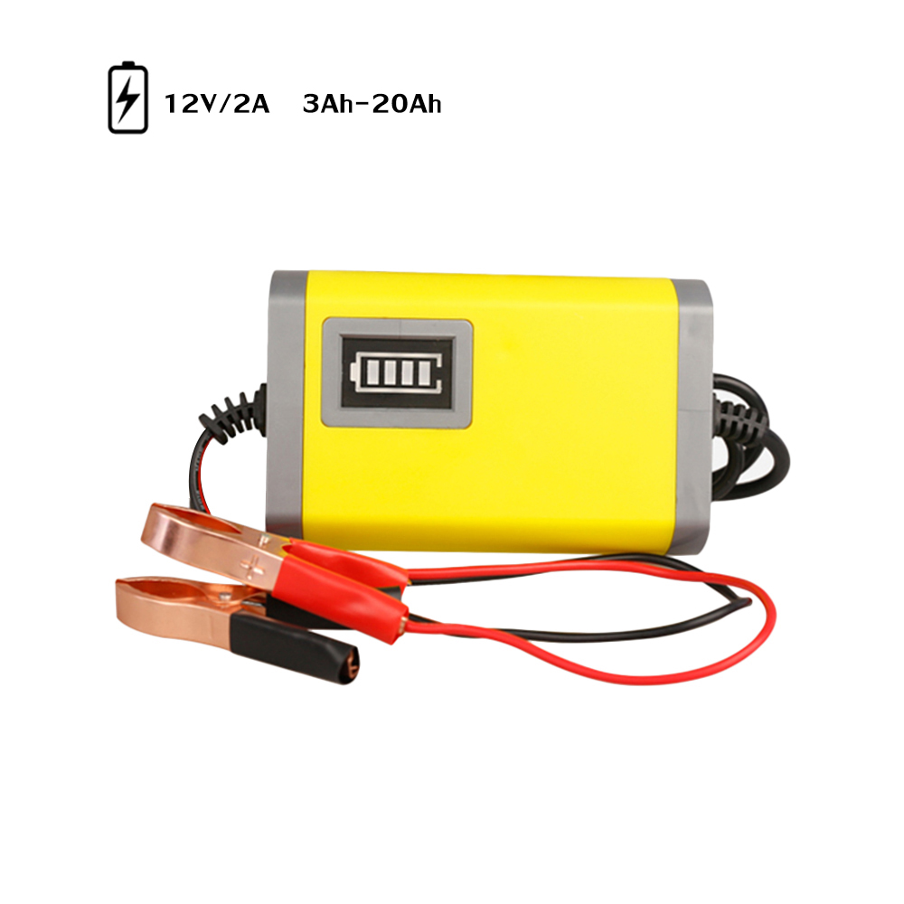 12V 2A Full Automatic Intelligent Smart Power Charger 110-240V Motorcycle Battery Charger 3 Stages Lead Acid AGM GEL LED Display image