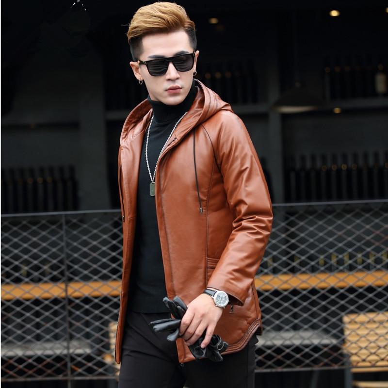 Geniune Leather Jacket Men Cow Leather Down Coat Winter Warm Plus Size 5XL Chaqueta De Plumas Para XQ-LC1733 MF411