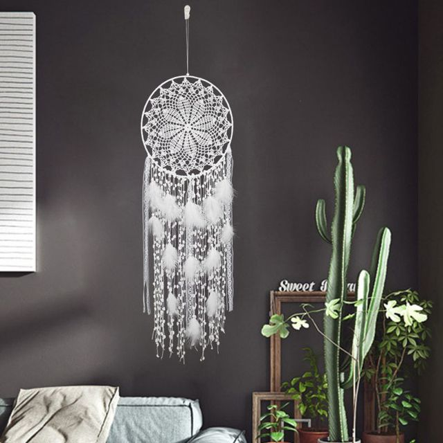 White Dream Catchers large Handmade Crochet Dreamcatcher Wall Decor For Teen Girls Room Home Decoration