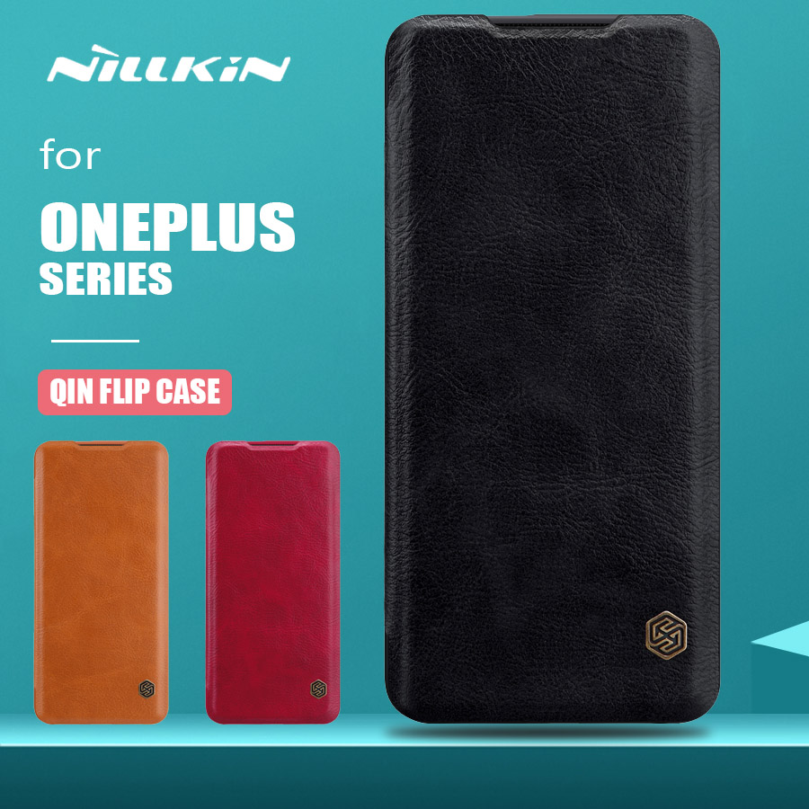 Para Oneplus 7T 7 Pro Case Nillkin Qin Series Flip Leather Case Luxo Tampa Traseira Oneplus 7T 7 Pro 6 5T 5 3 Business Phone Case