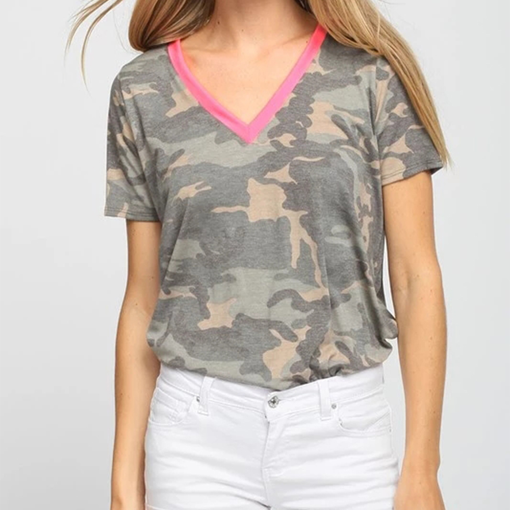 Women Casual V-neck Camouflage Military Camo Shirt Short Sleeve T-shirt Ladies Tops Ladies Tee Short Sleeve T-Shirt