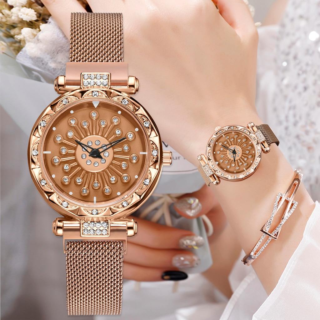 Fashion Women Rotating Watches Rose Gold Mesh Female Quartz Flowers Wristwatches Lucky Ladies Magnet Clock Luxury Reloj Mujer