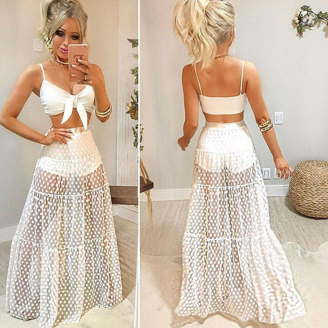 Women Female Clothes Mesh Sheer Maxi Skirt Dot Print A line Summer Beach Skirt Tulle Transparent See Through Skirts 6