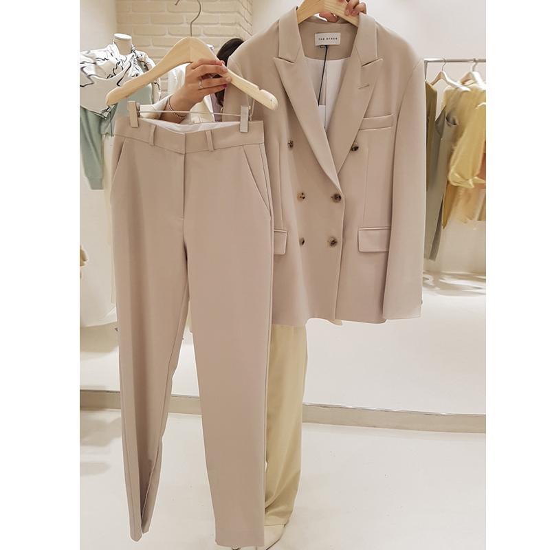 2020 Spring New Beige Casual Suit Jacket + Nine Pants Suit Female Korean Version Of The Slim Slimming Harem Pants Two Sets Fall