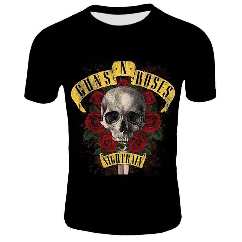 2020 새로운 착용 총과 장미 t-셔츠 남자 여름 블랙 Tshirt 밴드 거리 착용 남자 3D 인쇄 t 셔츠 총 장미 티 셔츠