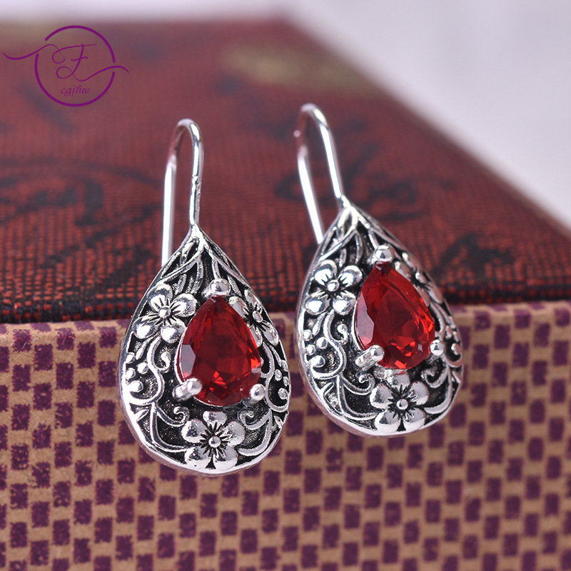 New Drop Pear-shaped Retro Earrings Thai Silver Created Ruby Earrings 925 Silver Dangle Earrings Jewelry For Women