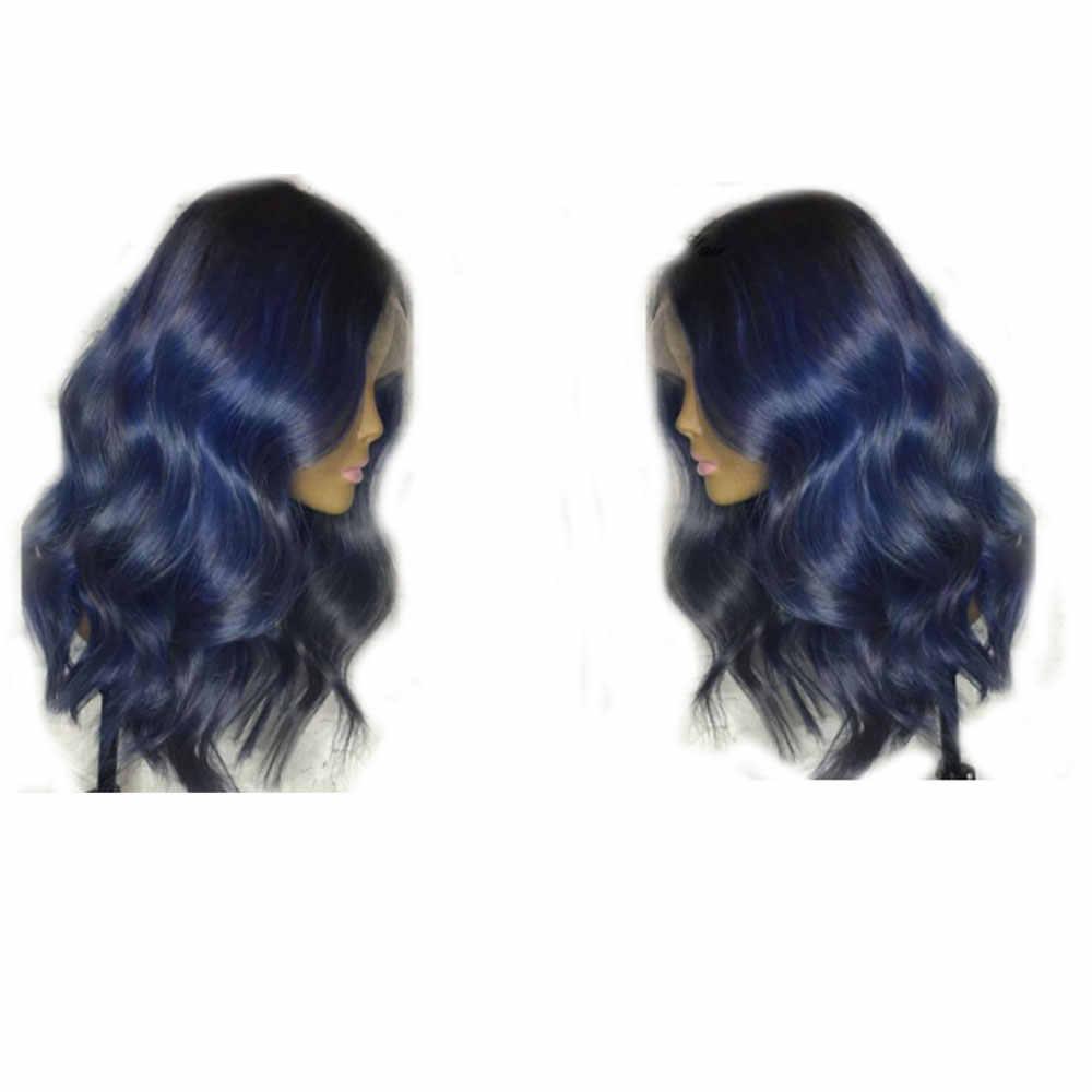 Eversilky Body Wave Ombre Blauw Gekleurde Menselijk Haar Pruik Diepe Deel 13X4 Lace Front Braziliaanse Remy Pre Geplukt met Baby Haar