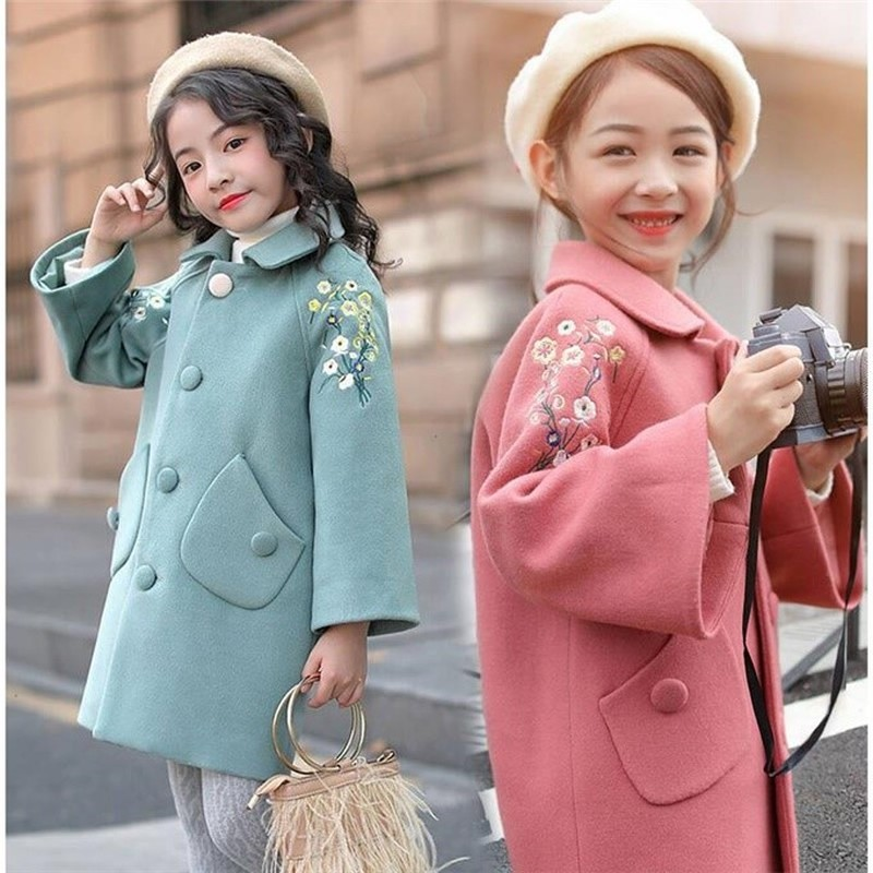 Girls Woolen Coat Autumn And Winter Wear New Korean Fashion Foreign Trade Children Autumn And Winter Woolen Coat