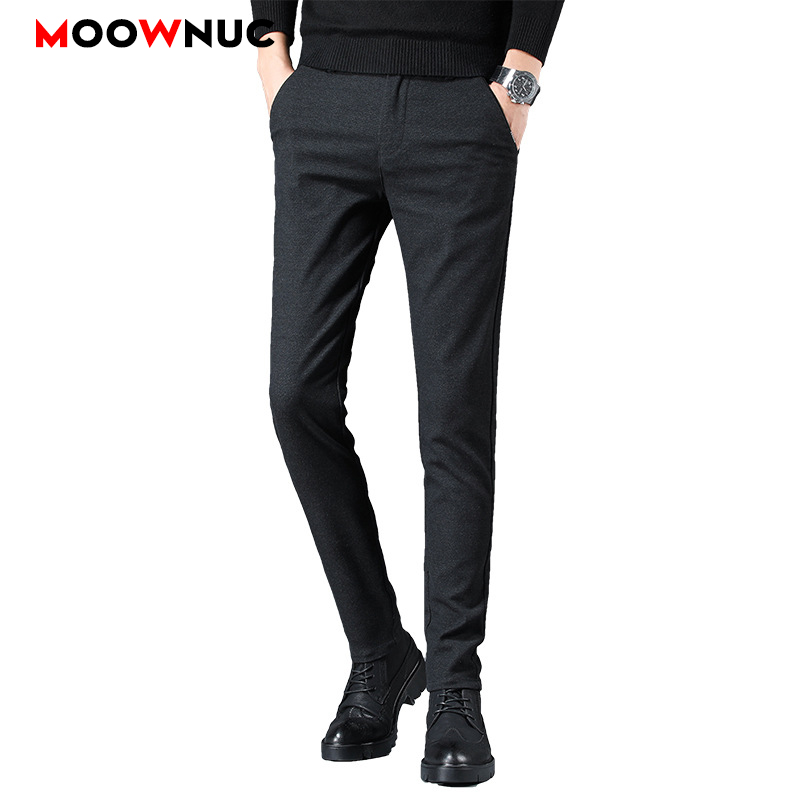 Autumn Long Pants Men's Trousers Plus Size Business Casual Male Streetwear Slim Elastic Hombre Fashion Straight 38 Brand MOOWNUC