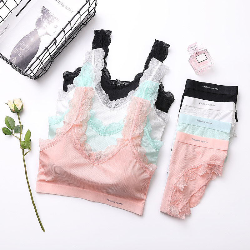 Women Solid Color Sweet Thread Beauty Back Set Material Comfortable Breathable Gathered Lace Side Underwear Two-piece Hot Sale