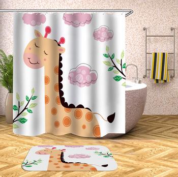 Cartoon zwierząt zasłona prysznicowa poliester wodoodporne akcesoria zasłona prysznicowa zasłony do łazienki tkanina wanna zasłona z hakami prezent tanie i dobre opinie CN (pochodzenie) Amerykański styl Ekologiczne Other T16YL011 W150cm*L180cm W180cm*L200cm 350~400g Use as bathroom curtain window pannel or door